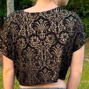 Forever 21 black and gold crop top